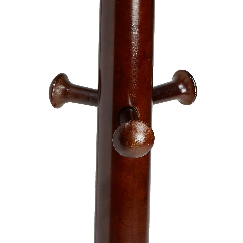 Brown Mind Reader 13 Hook Free Standing Wood Coat Rack Entryway Coat Tree Hat Hanger Umbrella Holder