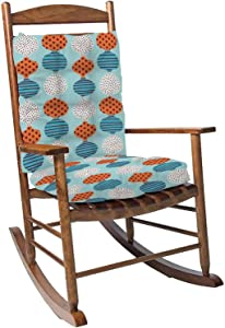 Rocking Chair Cushion Pad Set with Ties Seamless Stylized Graphic Pattern Scandinavian Fun Ornament Cute Overstuffed Thickened Patio Chair Cushions Indoor Outdoor Furniture Seating 2 Pieces