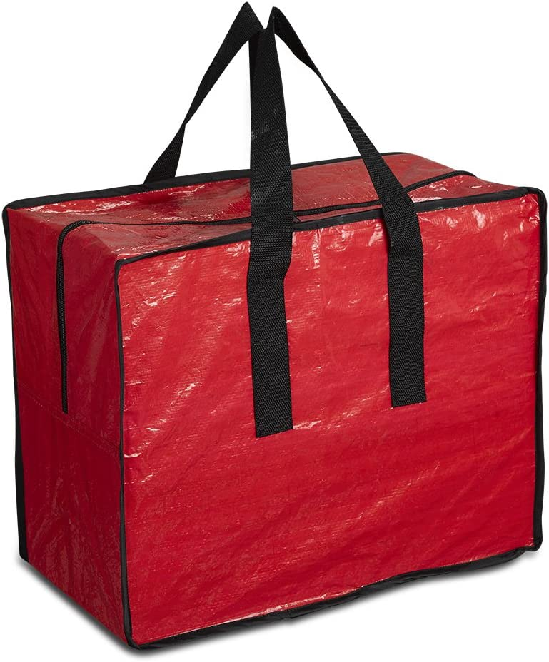 ProPik Xmas Ornaments Storage, Holiday Accessories Bag Tear-Proof Tarp 18 X 10 X 15 with Handles and Full Length Zipper (Red)
