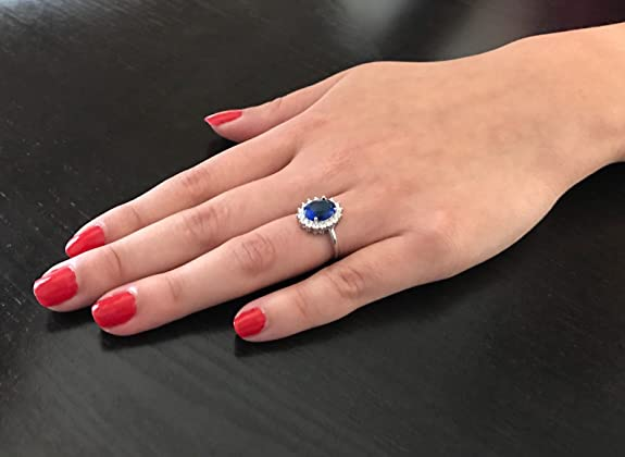 Kate Middleton Wedding Ring.Solid Sterling Silver Kate Middleton S Engagement Ring With Simulated Sapphire Blue Color Cubic Zirconia
