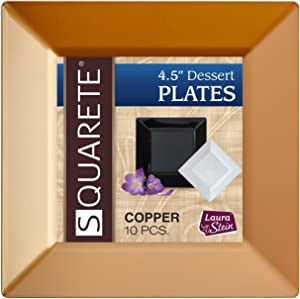 [40 Count] Squarete 4.5 Inch Dessert Plates Gold / Copper Disposable Heavy Duty Plastic, Ideal For Wedding, Catering, Parties, Buffets, Events, Or Everyday Use, 4 Packs
