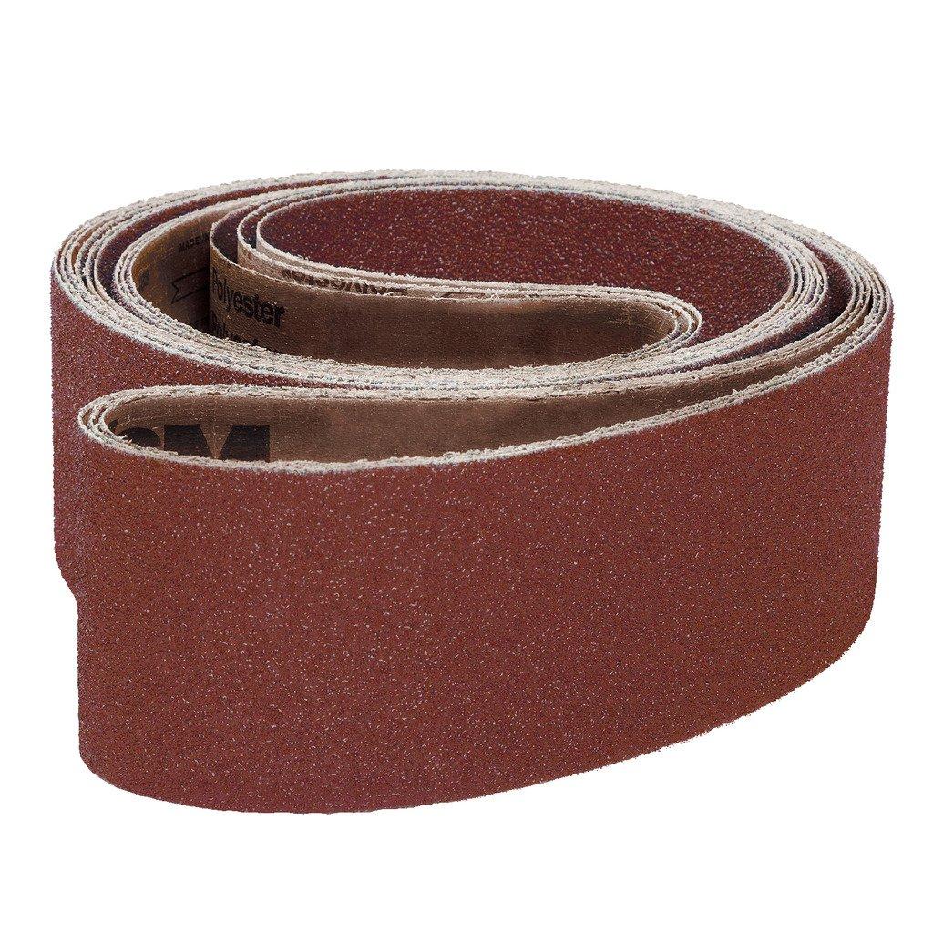 VSM 11529 Abrasive Belt, Medium Grade, Cloth Backing, Aluminum Oxide, 100 Grit, 2'' Width, 72'' Length, Brown (Pack of 10)