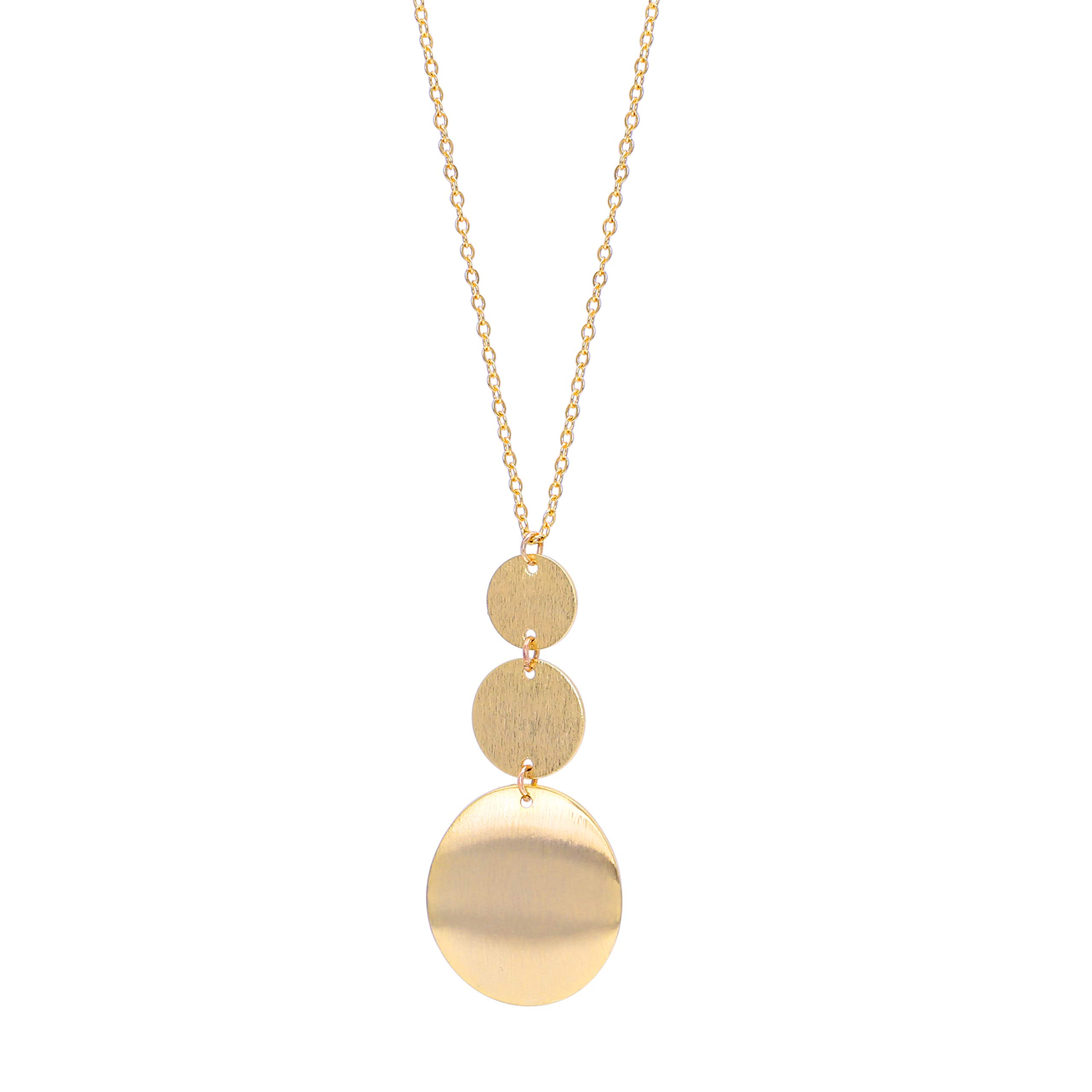Long Disc Pendant Necklace Adjustable 18K Gold Plated Sweater Chain Necklace Handmade Multi-Layer Pendant Y-style Jewelry for Women by PERNNLA PEARL