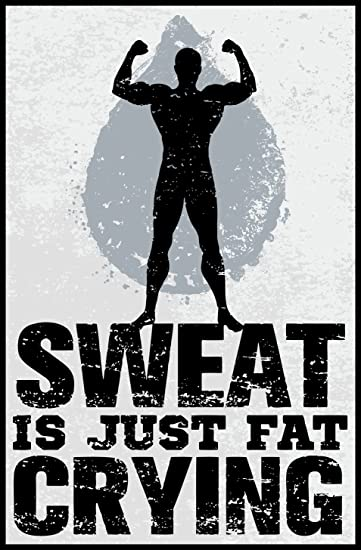 Amazon Com Motivational Gym Fitness Quote Cartoon Icon Sweat Is Just Fat Crying Border Included Around Image As Shown Vinyl Sticker 12 Tall Automotive