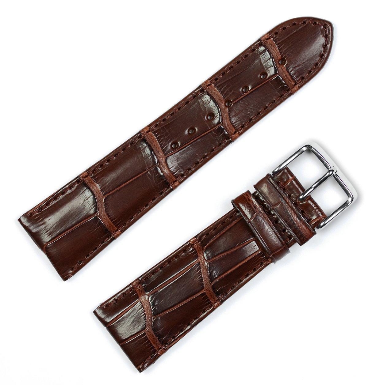 Genuine Alligator Watchband Brown 22mm Watch Band by deBeer