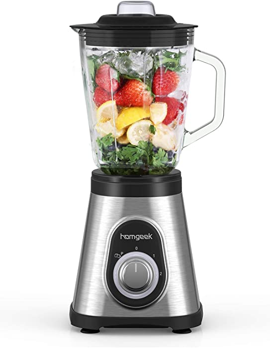 homgeek Blender with Glass Pitcher 48 oz, 750 Watt Kitchen Blender for Shakes, Smoothies, Ice Crushing and Frozen Fruit Drinks, Countertop Licuadora with 6 Stainless Steel Blades and 2 Speeds, Silver