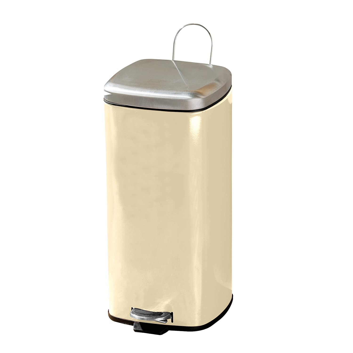 Premier Housewares Square Pedal Bin with Mirror Finish Stainless ...