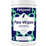 Petpost | Paw Wipes for Dogs - Nourishing, Revitalizing Dog Paw Cleaner with Coconut Oil, Jojoba Oil, and Aloe - 70 Ultra Soft Cotton Pads (Cherry Blossom)  (70 ct.)
