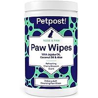 Petpost   Lingettes essuie pattes pour chien - Lingettes nettoyantes, hydratantes et revitalisantes pour pattes de chien à l'huile de coco, à l'huile de jojoba et à l'aloe vera - 70 lingettes