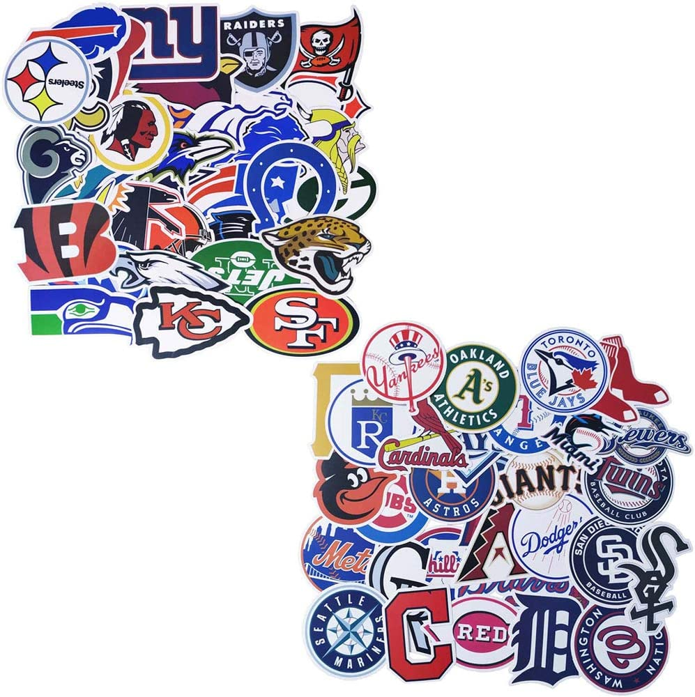 Ratgoo Stickers of NFL and MLB 62Pcs, Waterproof Vinyl Sports Fan Decals of National Major Football Baseball League All Teams Logos 32+30, American Sports Fan Sticker for Laptop Waterproof Hydroflask