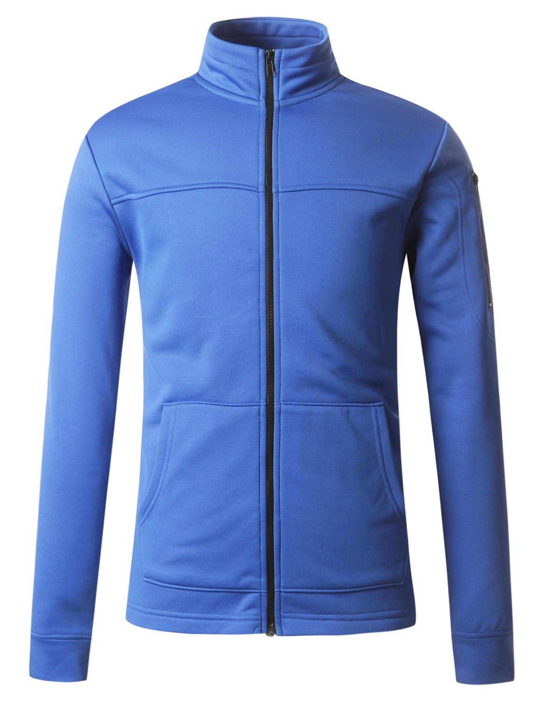 REGNA X mens zip up kangaroo athletic grey medium fleece arm pocket jackets, Armpocket - Blue, Medium