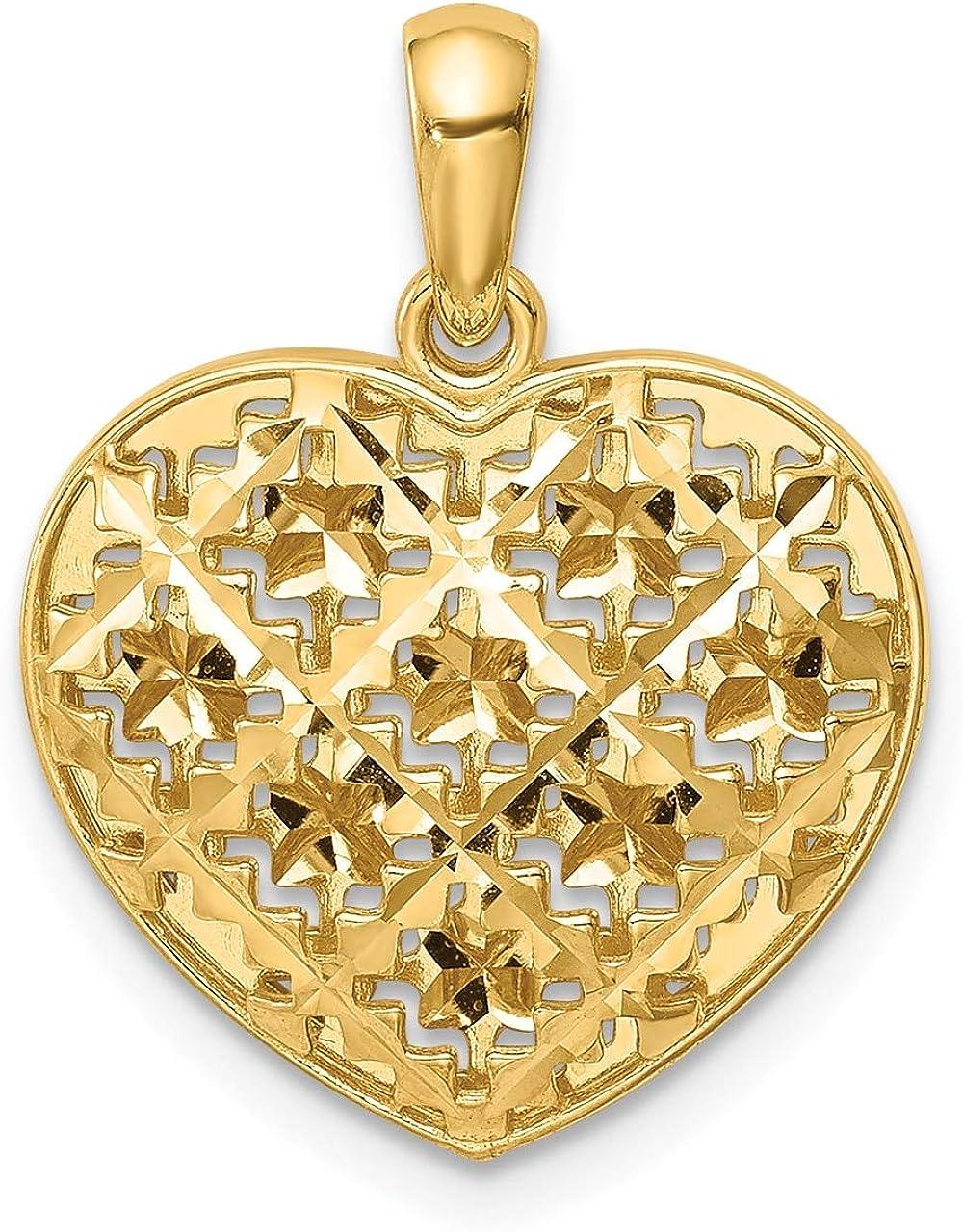 Lex /& Lu 14k Yellow Gold Polished 3D Patterned Heart Pendant