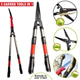Roamwild Multi-Cutter | 3 Garden Tools in 1 | Hedge Shears, Bypass Loppers & Long Reach Pruning Saw | Features Extendable Telescopic Handles