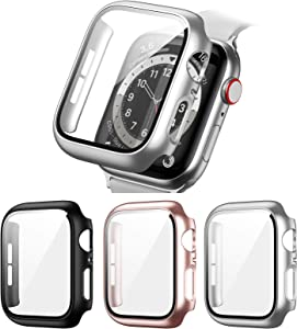 3 Pack Hard PC Case Compatible with Apple Watch Series 3/2/1 42mm, BHARVEST Case with Tempered Glass Screen Protector Overall Bubble-Free Cover for iWatch Accessories, Black+Silver+Rose Gold