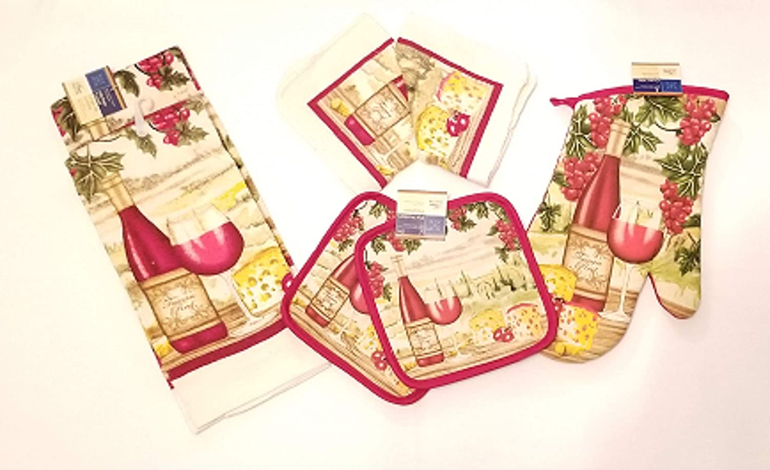 Home Collection Wine Cheese Berries Theme ~ 7-Pc Kitchen Linens Theme with 2 Towels - 2 Pot Holders - 2 Dish Cloths - 1 Oven Mitt