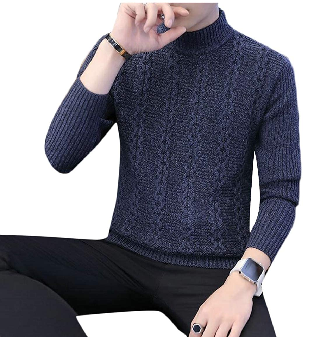 HTOOHTOOH Mens Casual Slim Fit Long Sleeve Cable Knitwear Pullover Sweater