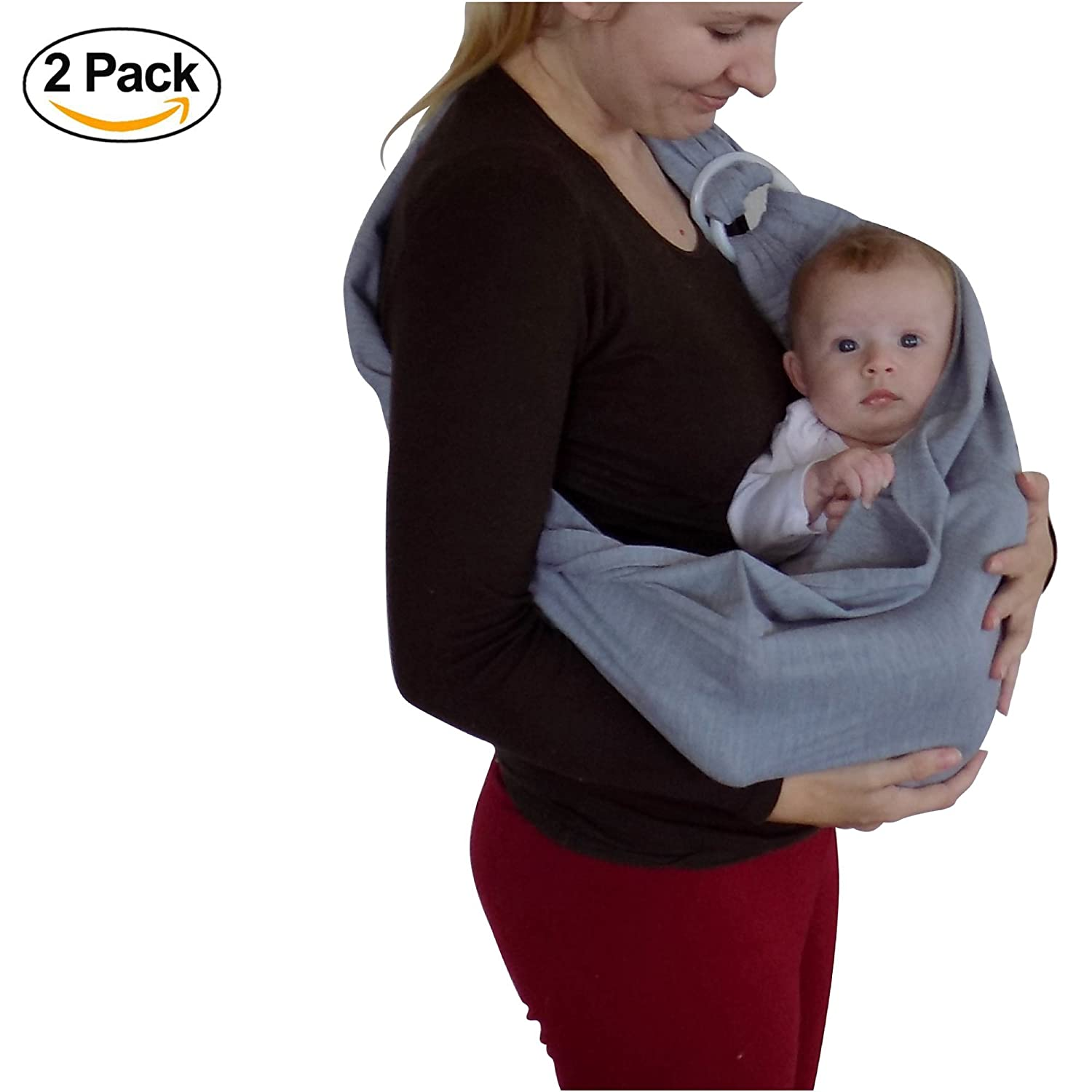 Baby Wrap Sling (2 Pack) 95% All Natural Cotton Baby Carrier for 0-36 Months by Catalina Creations