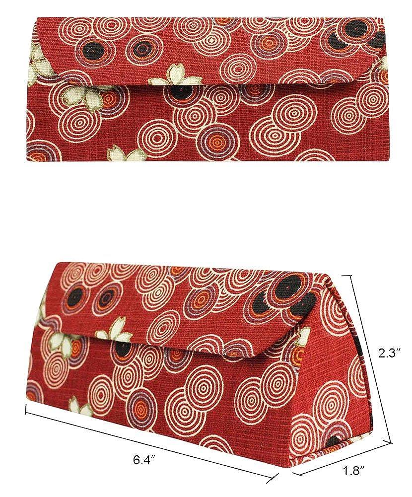 Microfiber EYEW-00041-T08 Elephant, Blossom, Fleur JAVOedge Various Fabric Print w//Magnetic Closure Triangle Shaped Eyeglasses Case