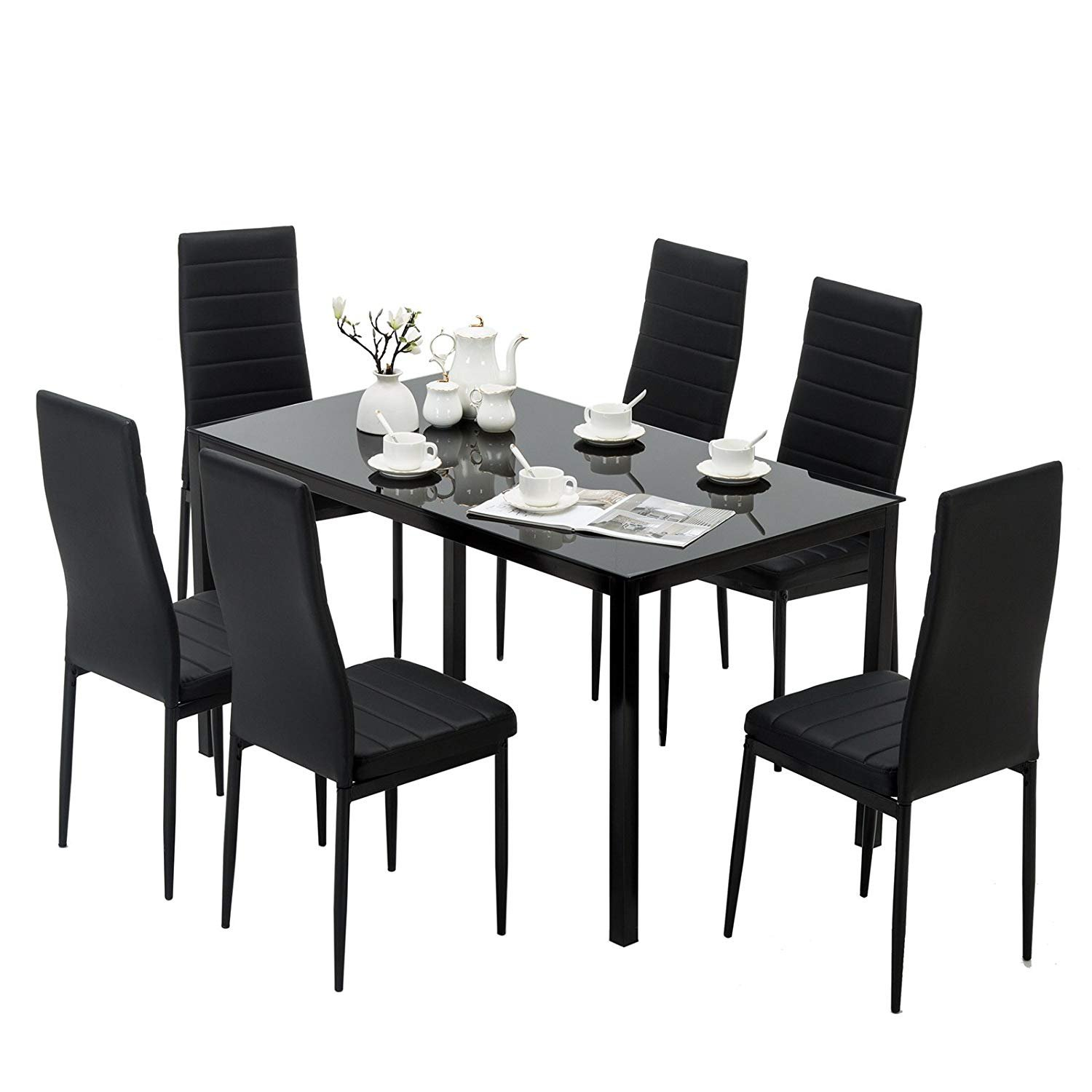 Mecor 7 Piece Kitchen Dining Set, Glass Top Table with 6 Leather Chairs Breakfast Furniture,Black by Mecor (Image #2)