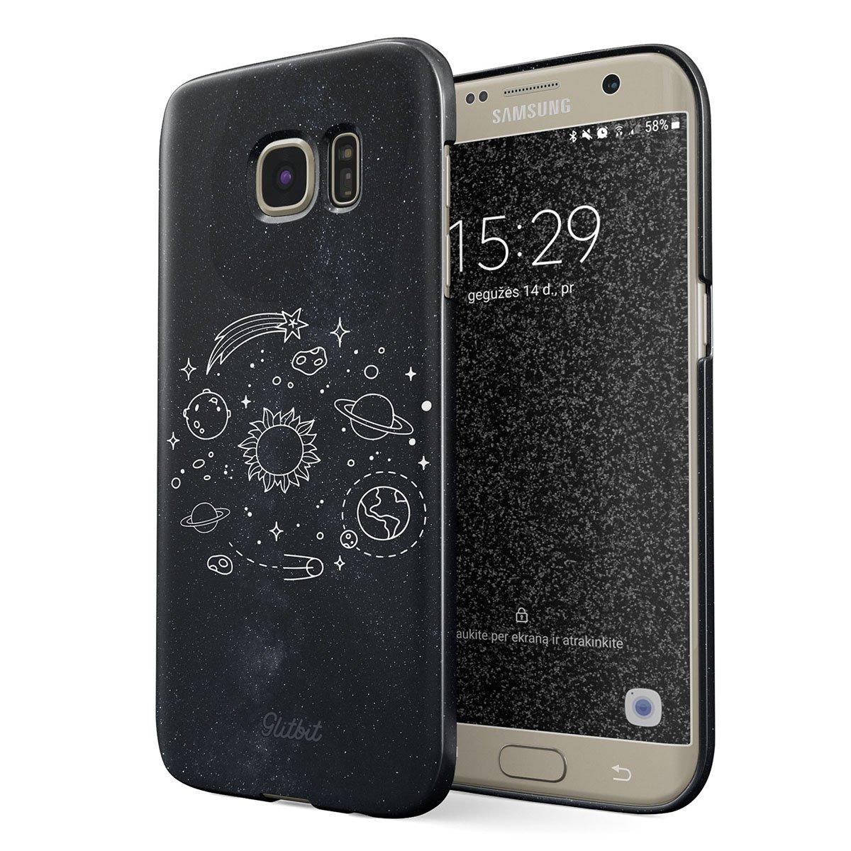 Glitbit Samsung Galaxy S7 Edge Case Cute Solar System Galaxy Stars Planet Sun Earth Moon Universe Cosmic Cosmos Space Tumblr Thin Design Durable Hard Shell Plastic Protective Case Cover