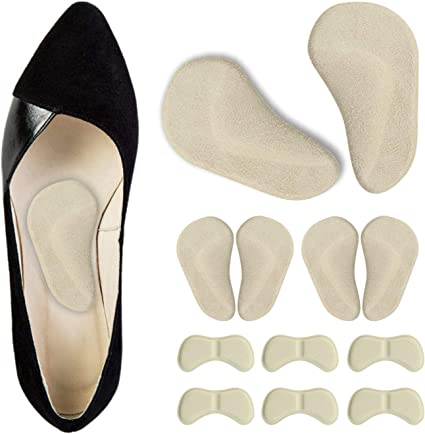 Leather Shoe Grips Self Adhesive Shoe Arch Pads Pain Care Cushion Insoles