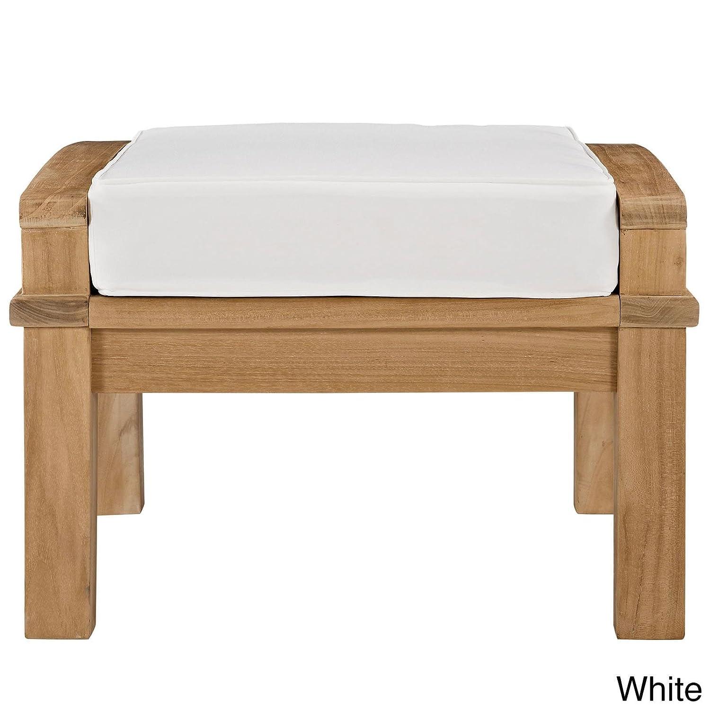 Amazon.com : Modway Pier Outdoor Patio Teak Ottoman Natural White ...
