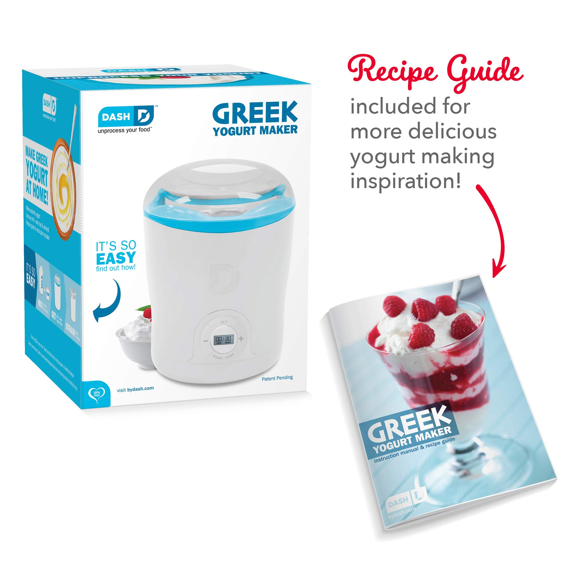 Parfaits Kids White 2 BPA Storage Containers with Lids: Perfect for Organic Flavored Dash DGY001WBU Greek Yogurt Maker Machine with LCD Display or Sugar Free Options for Baby Sweetened Plain