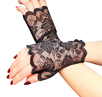 Ladies Black White Lace Fingerless Gothic Halloween Fancy Dress Costume Gloves