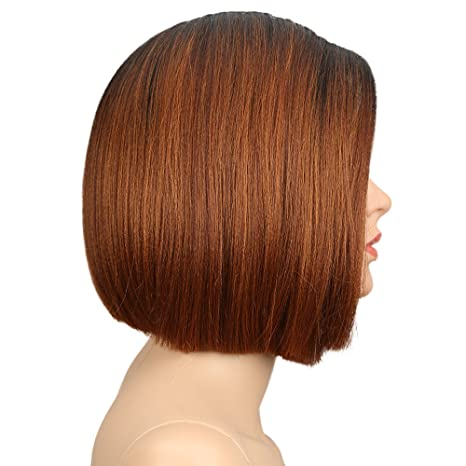 Amazon.com : Eliza Short Bob Wigs L Part Lace Front Wigs with Baby Hair Heat Resistant Synthetic Wigs For Black Women Half Hand Tied 130% Density Ombre ...