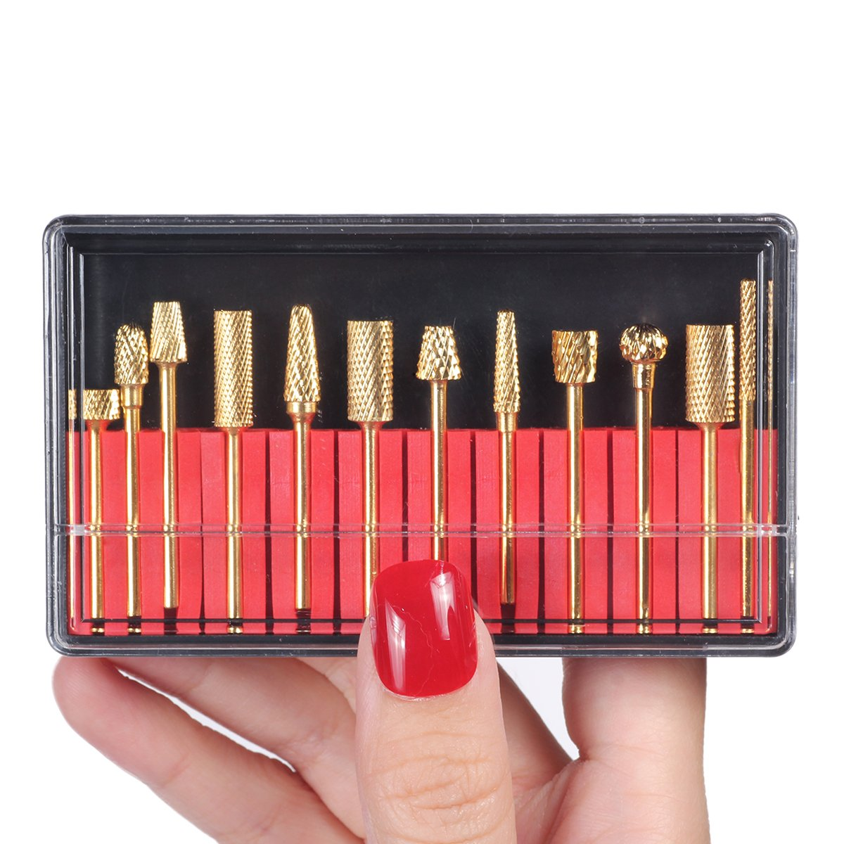 Amazon.com: MAKARTT 12Pcs Gold Carbide Nail Drill Bit Set ...