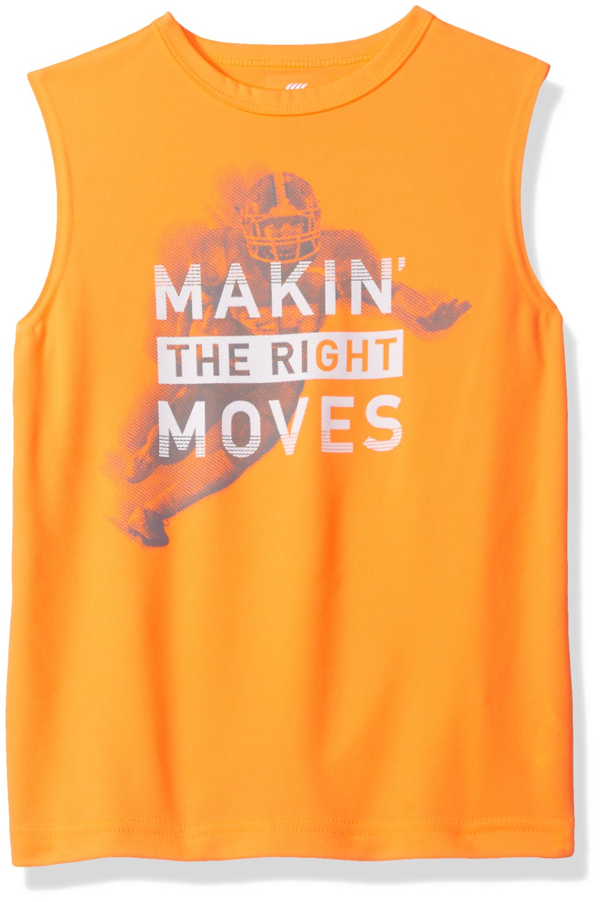 The Children's Place Big Boys' Graphic Active Muscle Top, Orange Splash, XS (4)