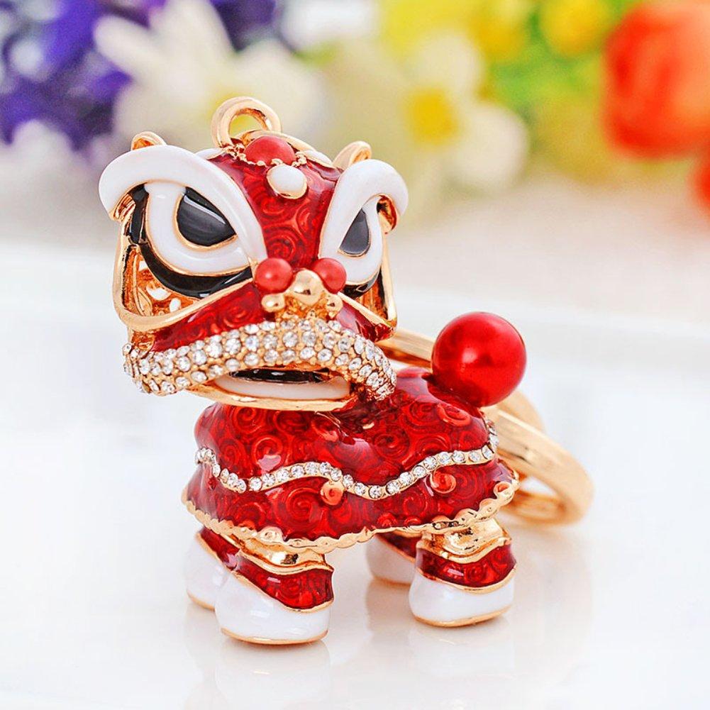 dise/ño Color Rojo MAJGLGE Llavero de le/ón Chino con Diamantes de imitaci/ón para decoraci/ón del Coche
