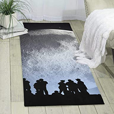 Amazon Com Workout Mat For Yoga Planet Moon Print Area Rug Runner