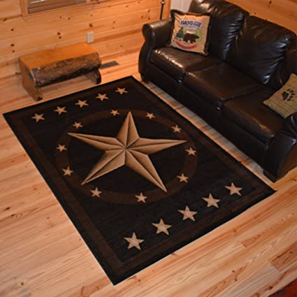 Rustic Western Texas Star Pattern Area Rug, Featuring Geometric Revolving  Stars Themed, Rectangle Indoor Hallway Doorway Living Area Bedroom Cabin ...