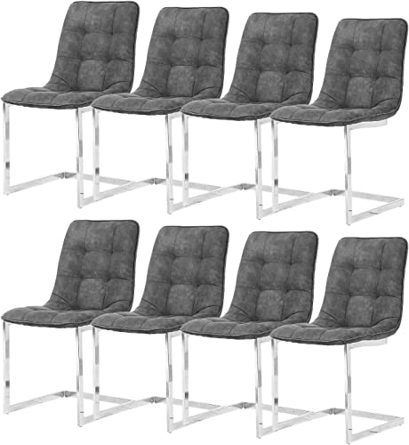 Enjowarm Dining Chairs Modern Kitchen Dining Chairs Set of 8 Micor-Suede Fabric Soft Padded Seat Chrome Legs Living Room Furniture Slate Grey