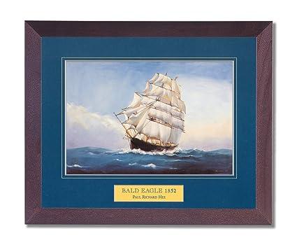 Amazon.com: Framed Cherry Bald Eagle Clipper Ship Wall Decor ...