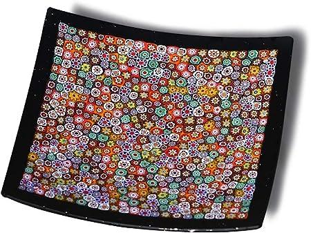 YourMurano Plato Decorativo de Cristal de Murano, Murrina, Forma Cuadrada, Moderno, Centro de Mesa, Marca de Origen, Geranium