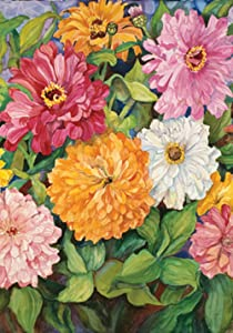 Toland Home Garden Vibrant Zinnias 28 x 40 Inch Decorative Colorful Spring Summer Flower House Flag - 109139