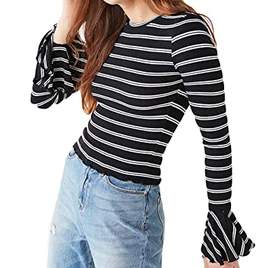 71735f914051f KFSO Women Fashion Black White Striped T-Shirt Long Bell Sleeve Ruffles Top  O-Neck Blouse at Amazon Women s Clothing store