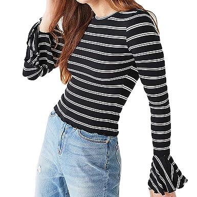 bd2a5f522b70d KFSO Women Fashion Black White Striped T-Shirt Long Bell Sleeve Ruffles Top  O-Neck Blouse at Amazon Women s Clothing store