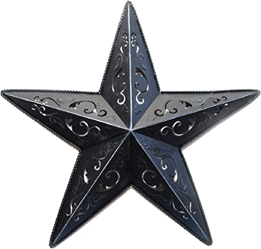 """Grila Black LACY Metal BARN Star 5"""" - Rustic Cut Out Style Country Indoor  Outdoor Christmas Home Decor. Interior Exterior Lacey Metal Stars"""