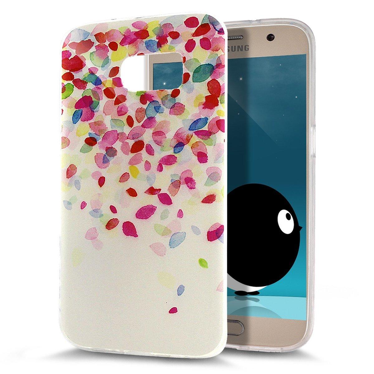 Galaxy S7 Hülle, Galaxy S7 Schutzhülle, ikasus® Galaxy S7 Silikon Hülle [Kristallklar Durchsichtig], Malerei Muster Stoßdämpfend Transparent TPU Silikon Schutz Handy Hülle Case Tasche Silikon Crystal Case Durchsichtig Sch
