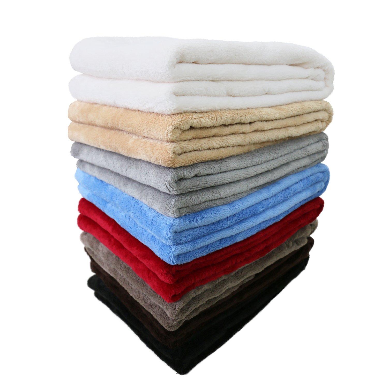 Unique Home Luxury Reversible Fuzzy Velvet Plush Throw Blanket,Coffee First Net
