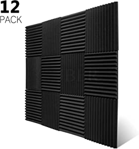"JBER 12 Pack Charcoal Acoustic Panels Studio Foam Wedges Fireproof Soundproof Padding Wall Panels 1"" X 12"" X 12"""