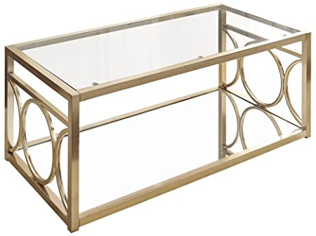Steve Silver Olympia Glass Top Coffee Table in Gold Chrome