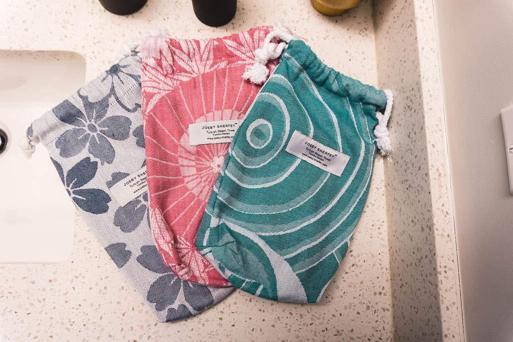 Juego de toallas de playa turcas con bolsa de viaje y estacas de arena - Toallas de baño de diseño turco para piscina, spa, barco, picnic, ...