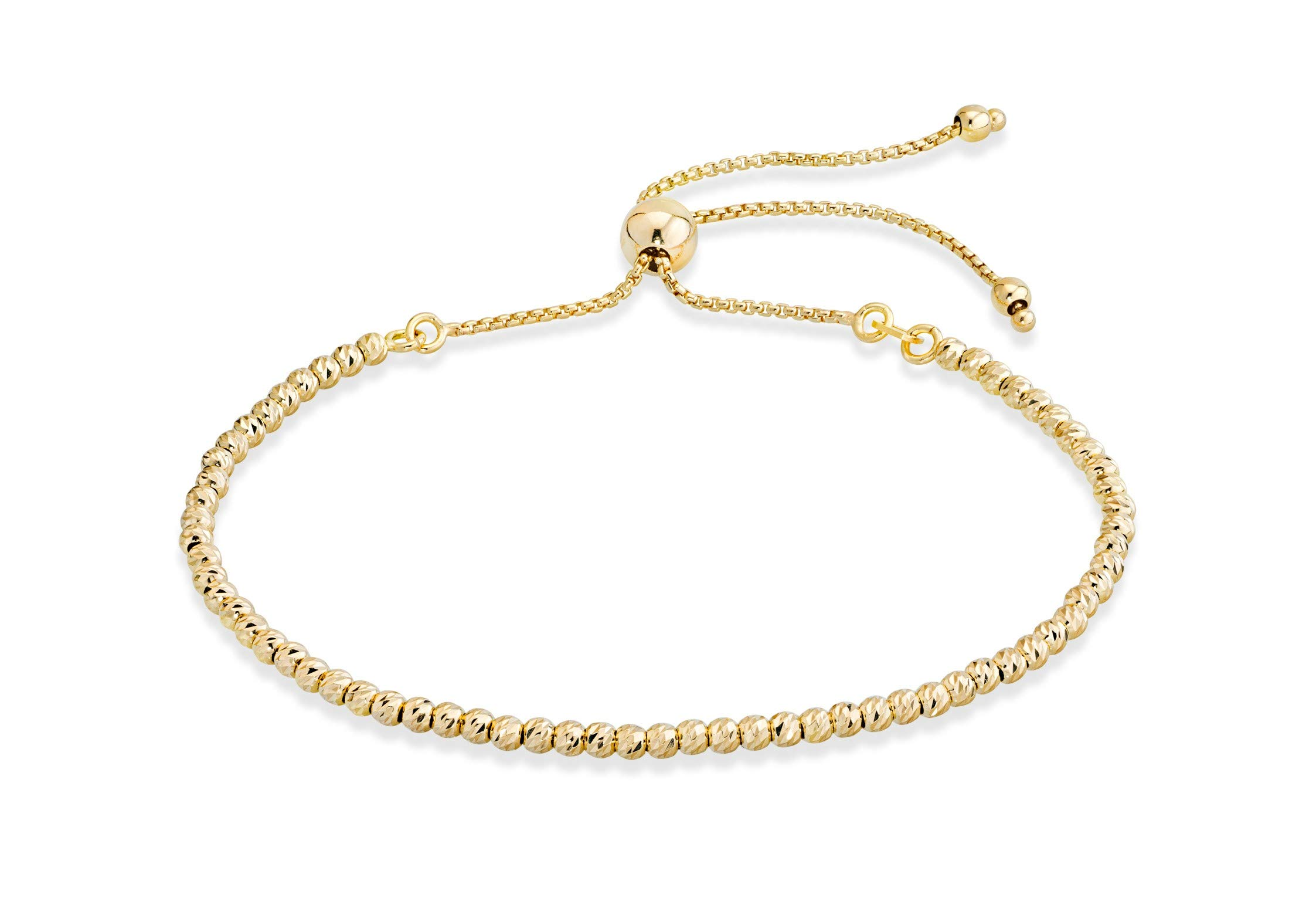 MiaBella 925 Sterling Silver Diamond-Cut Adjustable Bolo 2.5mm Bead Bracelet for Women, Handmade Italian Beaded Ball Chain Bracelet, Choice White or Yellow (Yellow-Gold-Plated-Silver) by MiaBella