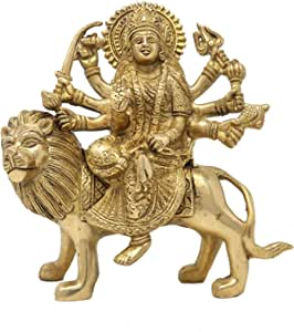 Brass Sculpture Durga Statue Art Indian Decor Hindu Puja Idol Hindu Religious Items for Home Temple 8 Inch