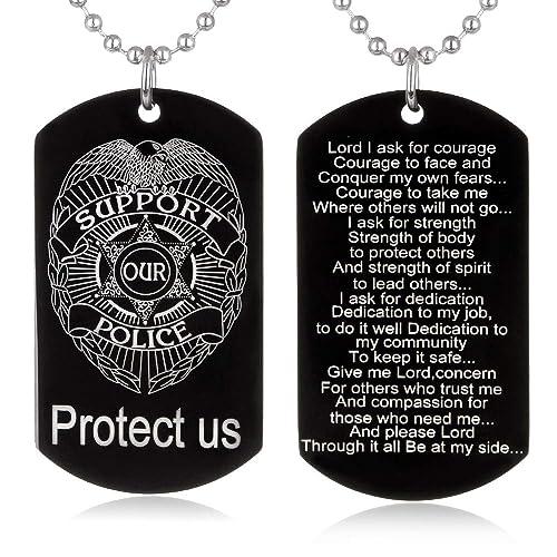 FAYERXL Police Officer's Prayer for Lawman Son Motheror Wife Husband  Boyfriend Girlfriend Graduation Academy Gift