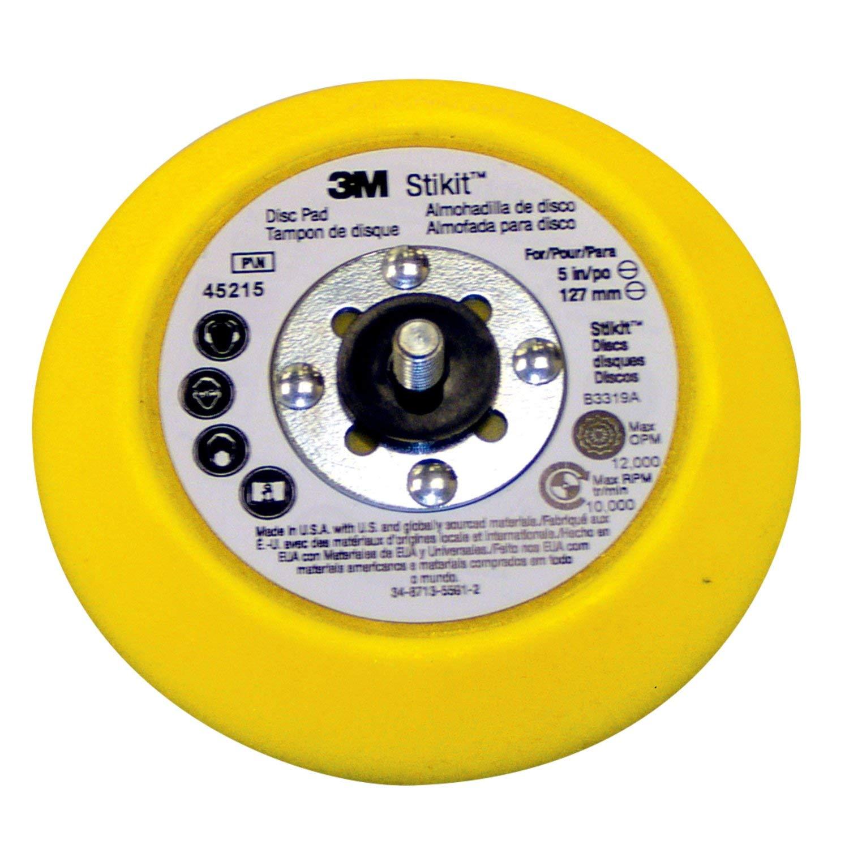 5 Diameter x 0.75 Thick Yellow Medium Pack of 10 3M Stikit Disc Pad 45215